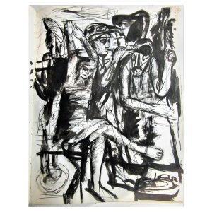 Artist Sketchbook Male Female Nudes Ink Gouache Paintings - 1951