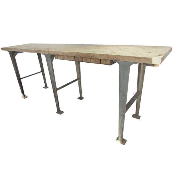 American Industrial Iron & Wood Work Table