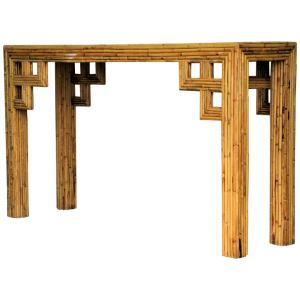 Bamboo Greek Key Design Console Table