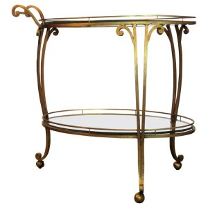 Italian Gilt Metal Bar Cart