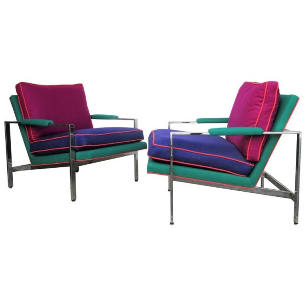 Milo Baughman Chromed Steel Flat Bar Lounge Chairs