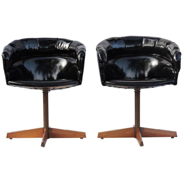 Black Patent Leather Swivel Pod Chairs