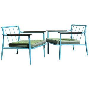 Mid 20th Century Sleek Elongated Iron Chairs