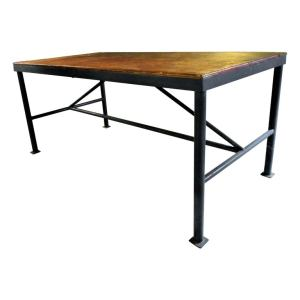 Antique American Large Industrial Steel Table