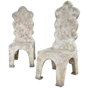 1970's Brutalist Papier Mache' Art Chairs