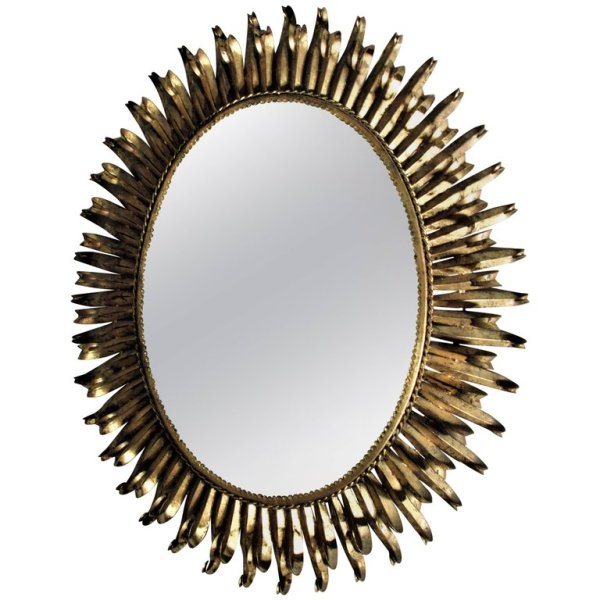 1960's Spanish Gilt Metal Eyelash Mirror