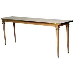Travertine Marble Top Console Table