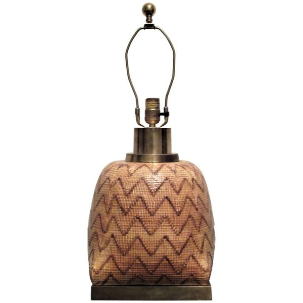 Ceramic Faux Wicker Lamp by Chapman