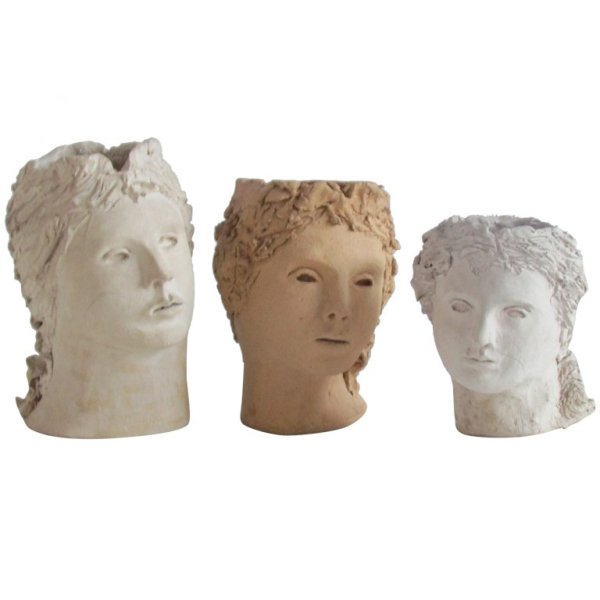 Ceramic Head Vase Sculptures in the style of Jean Cocteau