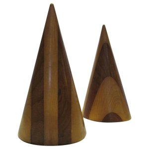Turned Wood Sculpture Cone Forms