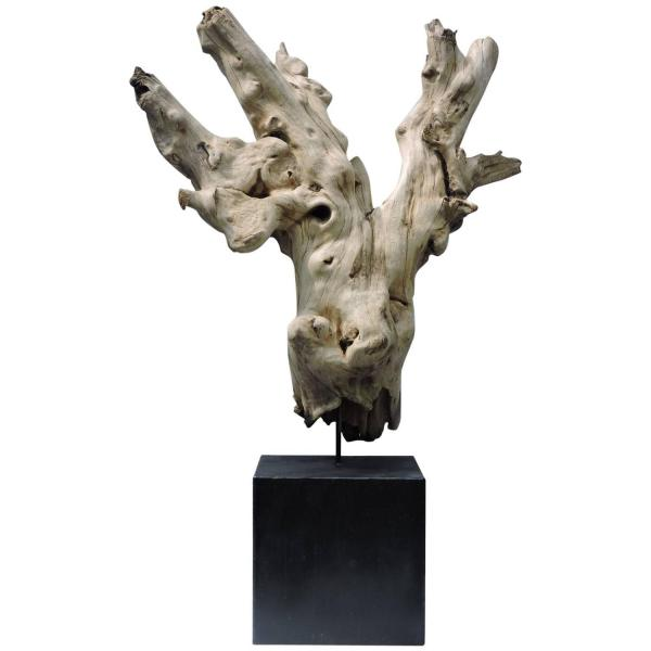 Large Old Freeform Burl Driftwood Mounted as Sculpture