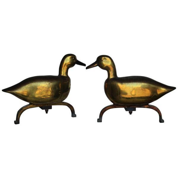 Antique Brass Duck Andirons