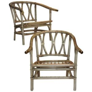 Bamboo & Brass Armchairs by Ficks Reed