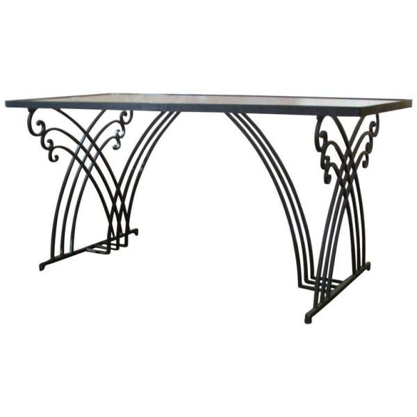 French Art Deco Style Iron Dining Table