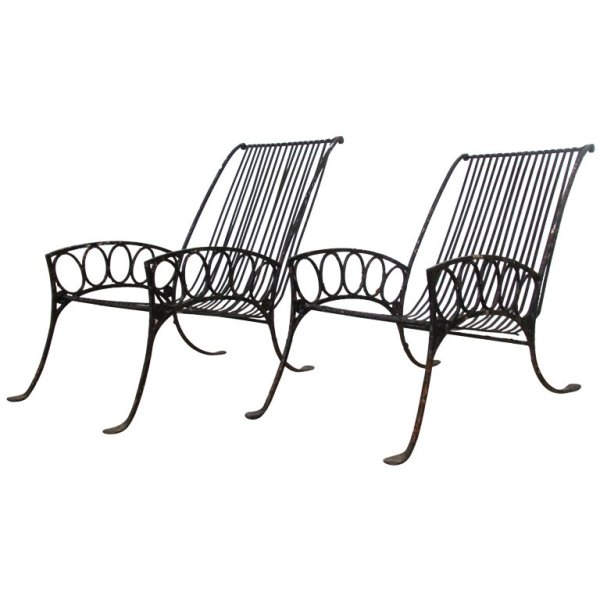 French Art Deco Iron Lounge Chairs