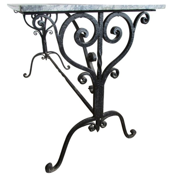 Rare Antique French Hand Wrought Iron Pastry Table