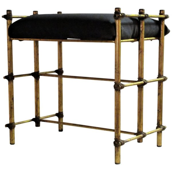 1960's Italian Gilt Metal Bench Seat