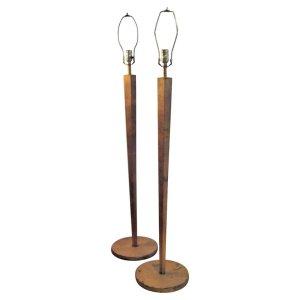 Pair Gilt Metal Tapered Hexagonal Column Floor Lamps