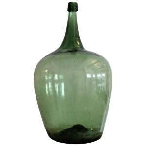 Antique Early 19th C. American Green Blown Glass Demijohn