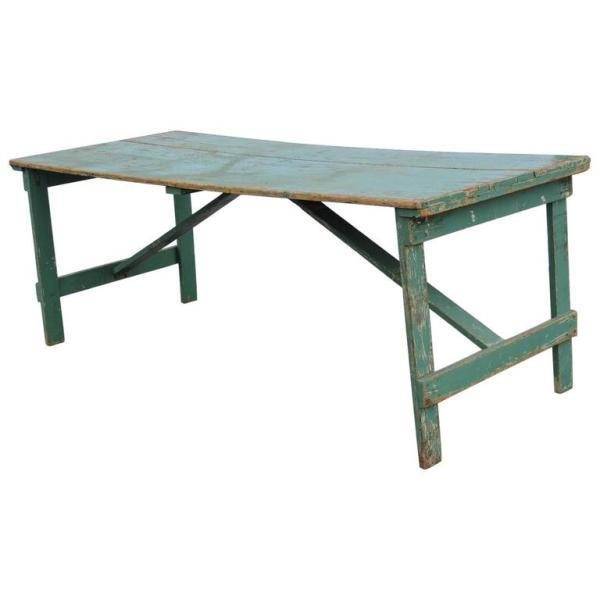 Old Green Painted Folding Farm Harvest Table