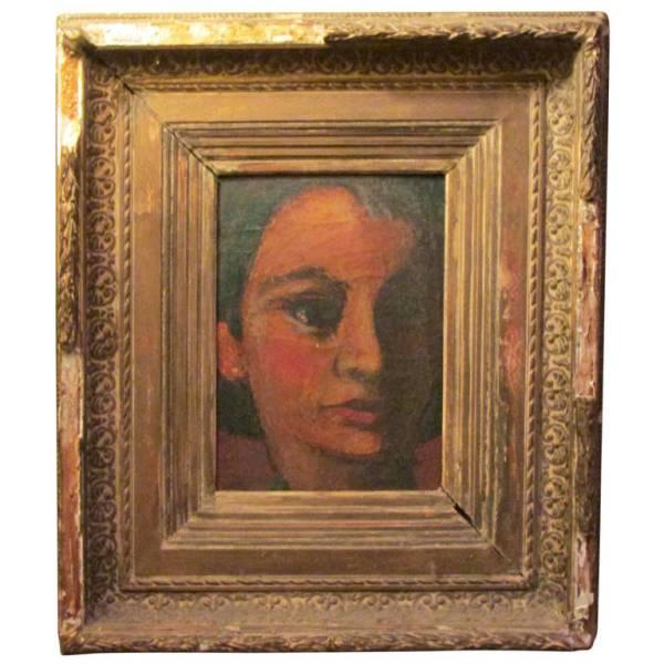 Moody Portrait Painting - Italian 1940's