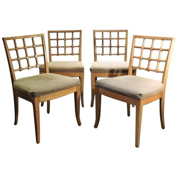 Limed Ash & Oak Chairs in the Style of Jean Michel Frank