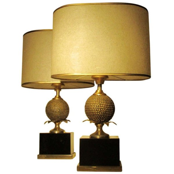 Maison Charles Gilded Pomegranate Lamps