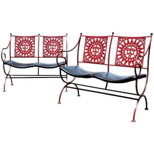 Mayan Two Seat Bench Settees by Athur Umanoff for Shaver Howard