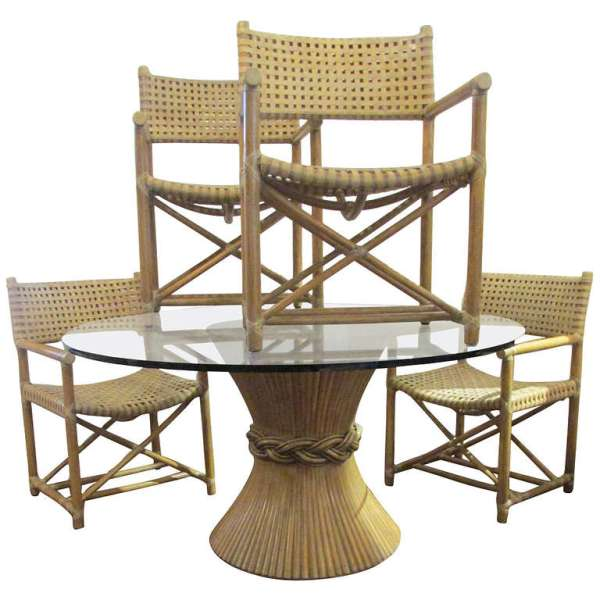 Mcguire Rattan & Rawhide Chairs & Table