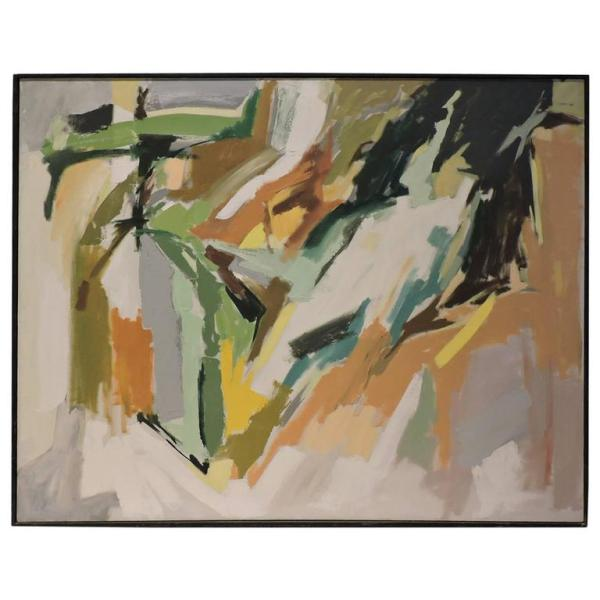 Large Abstract Painting Mid 20th Century