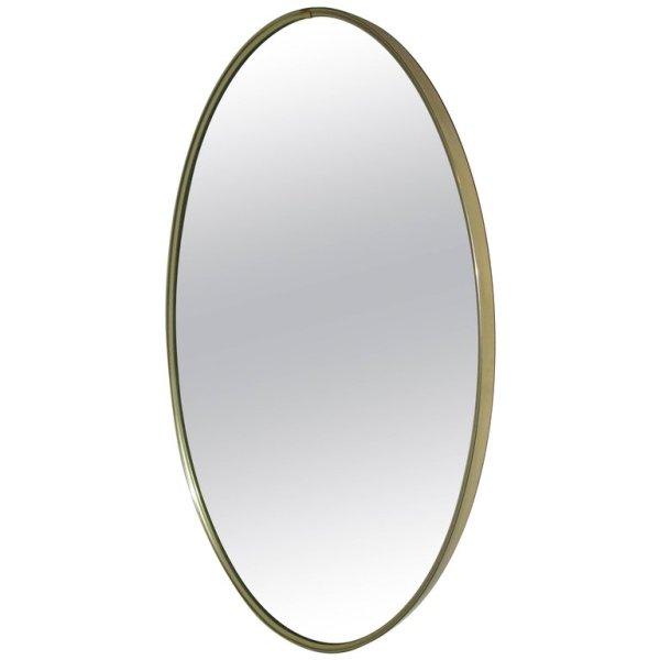 Classic Minimalist Oval Brass Mirror