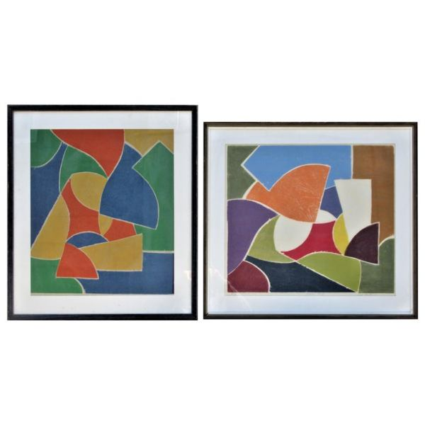 Abstract Modernist Woodcut Artist Proofs 1971