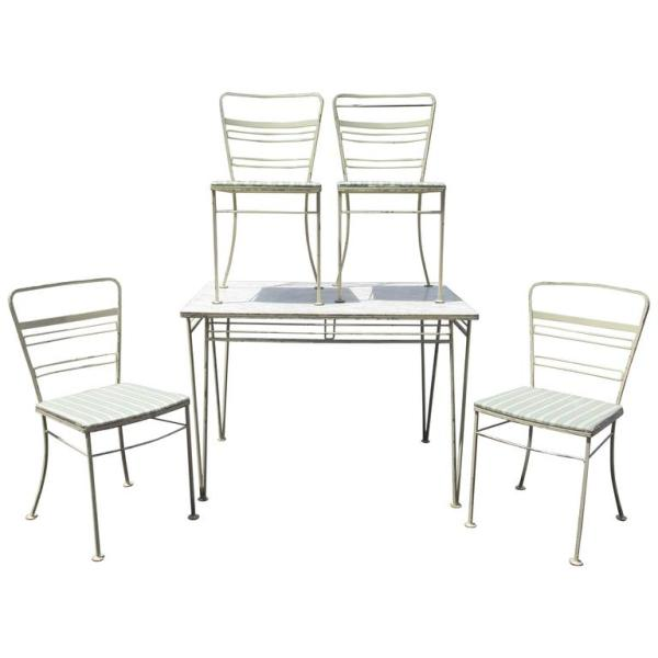 Modernist Wrought Iron Table & Chairs