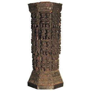 Antique Pedestal Indian Carved Wood Naga Figures