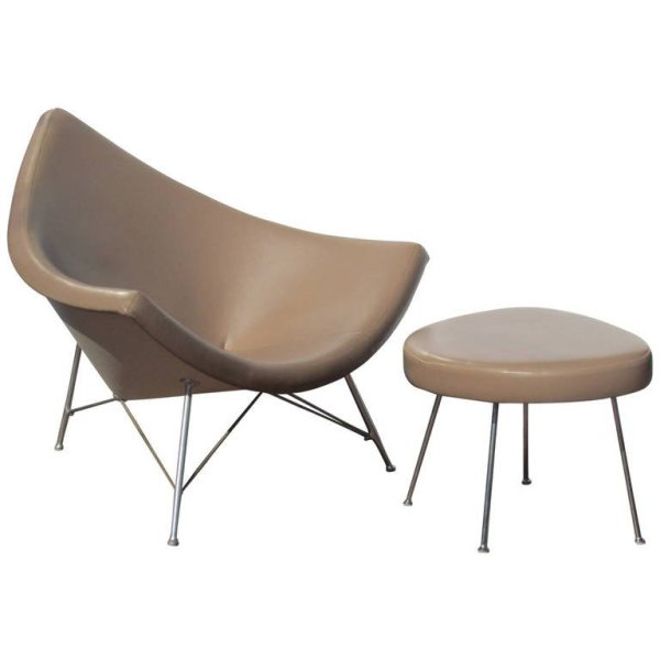 Early Production Coconut Chair & Ottoman by George Nelson