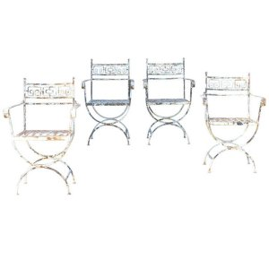 Neoclassical French Iron Armchairs