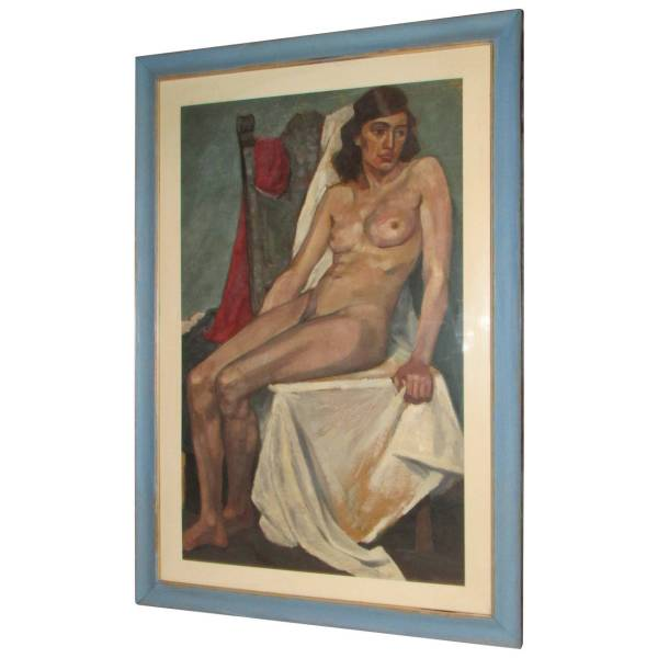 Large Female Nude Oil Painting circa 1930's