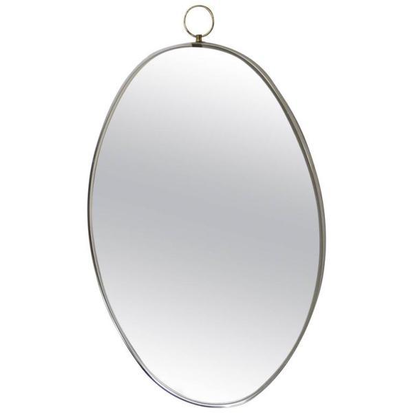 1960'S Italian Modernist style Oval Brass Mirror