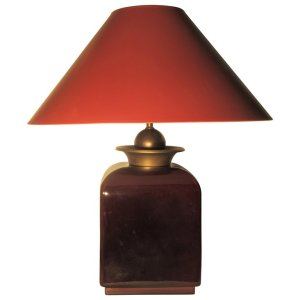 Hollywood Regency Oxblood Glaze Ceramic & Brass Lamp