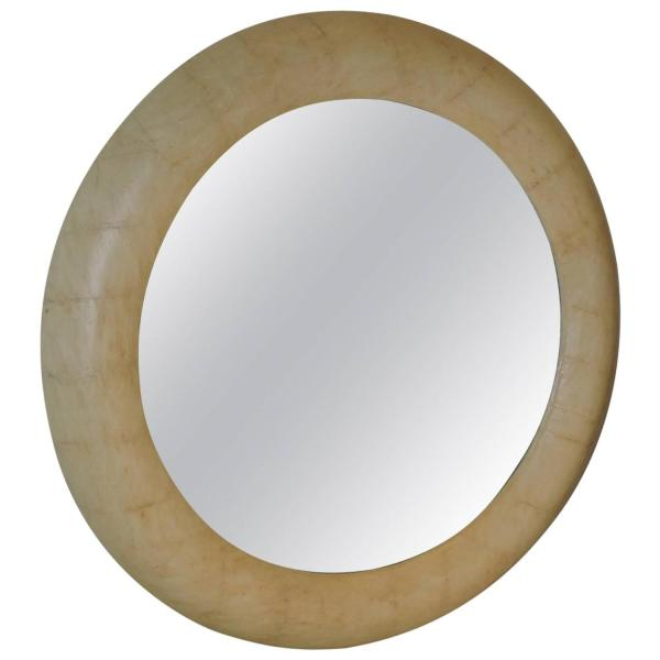 Faux Parchment Mirror in the style of Karl Springer