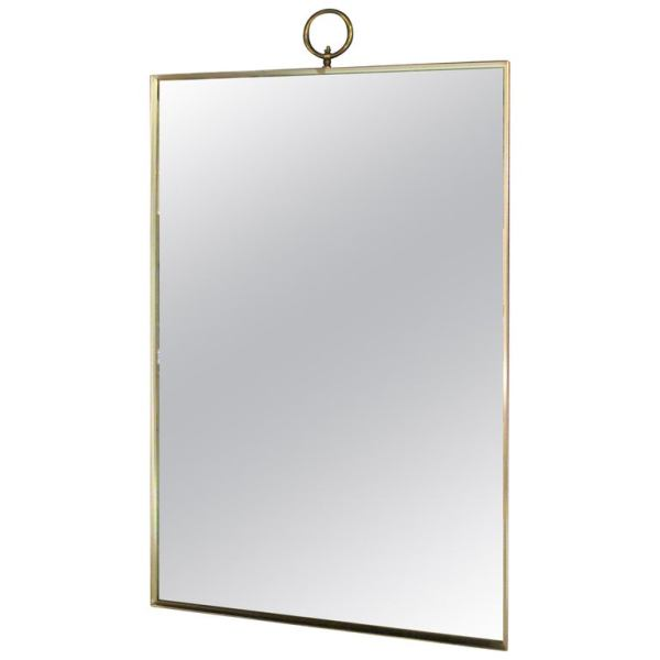 Rectangular Silver Brass Mirror in the style of Gio Ponti