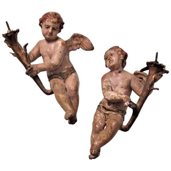 Antique Italian Winged Putti with Torch Prickets