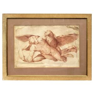 18th Century French Large Sepia Engraving Putto and Eagle