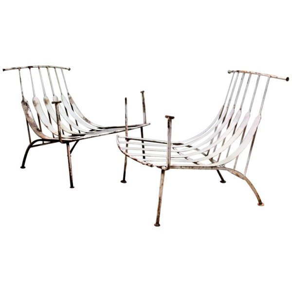 Rare Modernist Iron Chairs by Russell Woodard