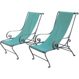Salterini Wrought Iron Sling Chairs