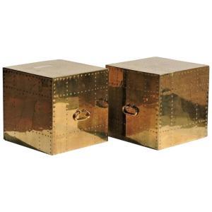 Riveted Brass Cube Tables by Sarreid Ltd. Spain