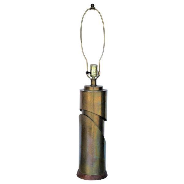 Sculptural Modernist Brass Cylinder Lamp