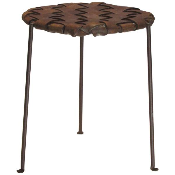 Iron and Leather Stool by Lila Swift and Donald Monell