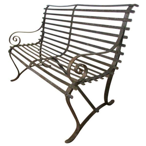 Antique Strap Iron Garden Bench