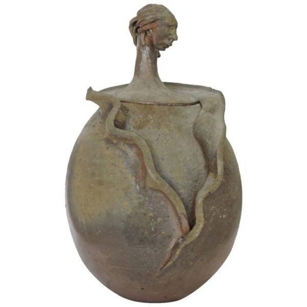 Surrealist Pottery Vessel in the style of Giacometti